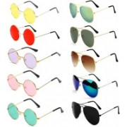 SRPM Aviator Sunglasses(Yellow, Red, Pink, Violet, Green, Blue, Black, Brown)