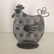 Găină cu ornamente, gri închis, medie