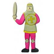 Fa játék figurák - lovag, harcoló, piros