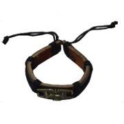 Men Style Antique Bronze Stylish Tone Friendship With Cotton Dori Clasp Black Leather Round Bracelet