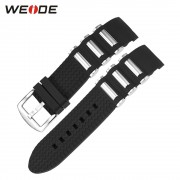 WEIDE Watch Band Black Silicone New Men Black Strap for Clock 21cm Clasp Buckle Suitable for WEIDE WH1104 1103 Models