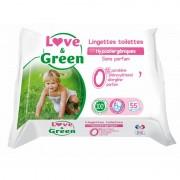 Love and Green lingettes toilettes 0% hypoallergéniques x55