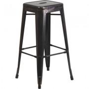 Flash Furniture Backless Metal Indoor/Outdoor Bar Stool - 30Inch H, Black/Antique Gold, Model CH3132030BQ