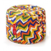 Style Homez Round Cotton Canvas Geometric Printed Bean Bag Ottoman Stool Large with Beans Multi Color