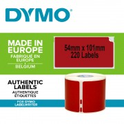 Etichete termice, DYMO LabelWriter, 54mmx101mm, hartie rosie, mesaje avertizare, adrese voiaj, permanente, 1 rola cutie, 220 etichete rola, 2133399, 99014