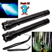 7W Battery Powered Portable Waterproof Ultra Bright LED Flashlight Torch Outdoor Lamp Searchlight Emergency Light 2 Pcs