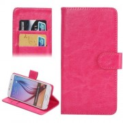 3.8-4.3 Inch Universal Crazy Horse Texture 360 Degree Rotating Carry Case with Holder & Card Slots for Samsung Galaxy SII / i9100 / iPhone 4 / 4s / 5 / 5c / 5s(Magenta)