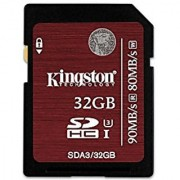 Kingston Digital 32GB SDHC UHS-I Speed Class 3 Flash Card (SDA3/32GB)