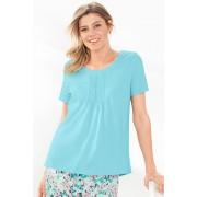 Womens Mia Lucce Pintucked Tee - Aqua T-Shirt Sleepwear Nightwear