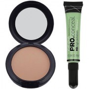 L.A. Girl Conceal Concealer (Green Corrector) POWDER PLUS FOUNDATION IN 15 GRAM NC25 Compact (NATURAL)
