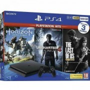 Конзола Sony PlayStation 4 Slim 1TB Черна + Игра The last of US + Игра Uncharted 4 + Игра Horizon: Zero Dawn