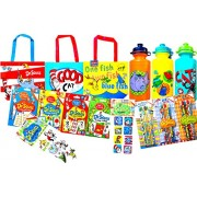 Dr. Seuss Back to School Children's Reusable Lunch Tote Bags with Children's Pack of 3 Pull-top Water Bottles Includes Children and Development Flash Cards Pack of 4 with Arts and Crafts Pencils and Erasers