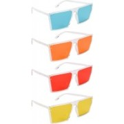 NuVew Retro Square, Wayfarer Sunglasses(Green, Orange, Red, Yellow)