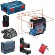 BOSCH GLL 3-80 C + BM 1 Nivela laser cu linii (30 m) + Suport + 1 acumulator 12V + L-BOXX