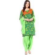 Jaipur Kurtis Pure Cotton Complete Set of Green Kurta and Green Patiala Duptta