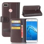 Notesz tok / flip tok - BARNA - valódi bőr, asztali tartó funkciós, oldalra nyíló, rejtett mágneses záródás, bankkártyatartó zseb, szilikon belső - HUAWEI Enjoy 7 / HUAWEI Y6 Pro (2017) / HUAWEI P9 lite mini