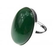 Inel argint reglabil masiv cu agata verde 25x18 MM