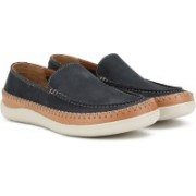 Clarks Veho Apron Navy Nubuck Loafers For Men(Navy)