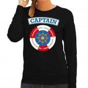 Bellatio Decorations Kapitein/captain verkleed sweater zwart voor dames 2XL - Feestshirts