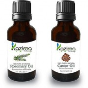 KAZIMA Combo Set of Castor Cold Pressed Carrier Oil & Rosemary Oil ( Each 15ml ) Ideal for use in Hair loss Treatment Promotes Hair Growth Moisturizes Skin Reduces Acne scars Face Health Benefit Massage