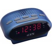 Radio FM cu ceas deşteptător ICES ICR-210 albastru