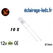 Lot de 10 LEDs oranges 600 mcd 590 nm 30° ref ld-14