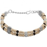 Dare by Voylla Tulsi with Black Beads & Silver Beaded Bracelet