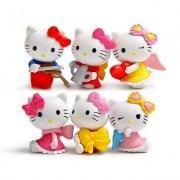 TrendyTap Hello Kitty Mini Figurine in Different Designs to Decorate Your Room or use as Pencil and Pen Cap for Girls (Set of 8 Assorted Design, 5 cms Height)