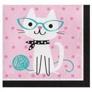 Merkloos 16x Thema servetjes katten