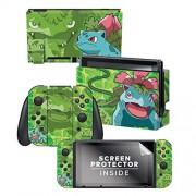 "Controller Gear Nintendo Switch Skin & Screen Protector Set Pokemon ""Bulbasaur Evolutions Set 1"" Nintendo Switch"