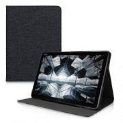 kwmobile Funda Compatible con Huawei MediaPad M5 Lite 10 Case de Tela Cierre magnético Soporte en Gris Oscuro