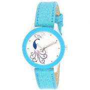 Peacock Design Sky Blue Analog Watch for Women with 6 Months Warranty