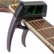 Professional Guitar Tuner Clip, Loftstyle Afinador Cromatico Pantalla LCD Pantalla Luz Giro Solo Guitar Capo (café)