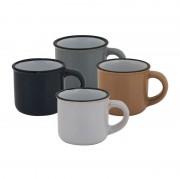 Xenos Espressomok classic - diverse kleuren - 10 cl - set van 4