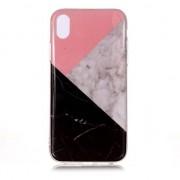 GadgetBay Geometrisch Marmer iPhone XS Max TPU hoesje - Roze Zwart Wit