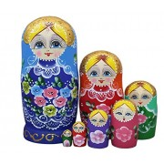 Winterworm Lovely Blue Blonde Little Girl With Flower Pattern Handmade Wooden Russian Nesting Dolls Matryoshka Dolls Set 7 Pieces For Kids Toy Birthday Christmas Gift Home Decoration