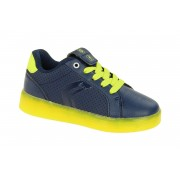 Geox Kinderschuhe blau gelb mit on/off Blinker