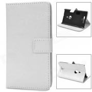 Funda protectora de cuero con tapa y fundas para tarjeta / nokia lumia 925 - blanco