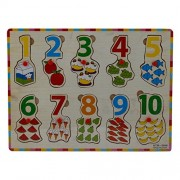 IndiPlay Easy learning - Wooden Numbers learn to count tray - Pin and place learning kit