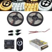 2PCS 5M SMD5050 Waterproof LED Strip Light RF Touch Dimmer+10A Power Adapter Kit DC12V