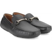 Clarks Davont Ride Blk Tumbled Lea Loafers For Men(Black)
