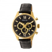 Heritor Automatic Benedict Leather-Band Watch w/ Day/Date - Gold/Black HERHR6803