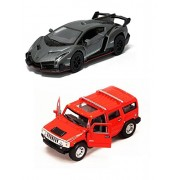 Playking Kinsmart Combo of 2008 Hummer H2 Suv 1:40 and Lamborghini Veneno Scale Model Car 5'' Die Cast Metal, Doors Openable and Pull Back Action Car (Color May Vary)