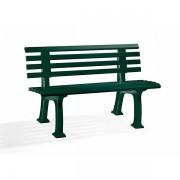 Certeo Parkbank aus Kunststoff - mit 9 Leisten - Breite 1200 mm, moosgrün