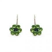 925 ezüst Nagy virágos fülbevaló Swarovski® kristállyal - Peridot