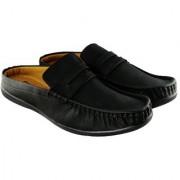 Blinder Men's Pure Black Back Open Casual Slip On Loafer Mocassion Shoes