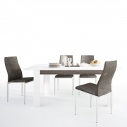 Chelsea Living Extending Dining Set with 4 Milan High Back Chair - Table + 4 Brown Chair