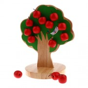 MagiDeal Kids Wooden Educational Toy - Magnetic Apple Tree with 15pcs Apples Counting Game