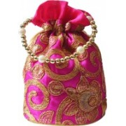 AyA Fashion Designer Royal Ethnic Clutch Silk Potli Batwa Wallet Bag with Beads Work |Hand embrodired and Golden Lace work Potli(Pink)