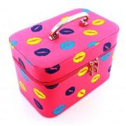 Geanta Trusa Organizatoare pentru Cosmetice si Bijuterii cu Oglinda, Culoare Roz